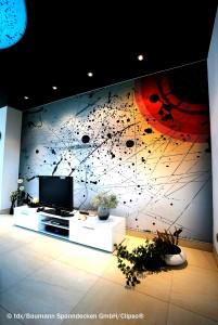 Bedruckte Akustik-Wandbespannungen reduzieren die Schallbelastung und schaffen ein angenehmes Wohngefühl. Bild: tdx/Baumann Spanndecken GmbH/Clipso®
