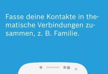 """Im Bosch-App Vivatar für Jogger kann jeder User seine wichtigsten virtuellen Begleiter zu Gruppen zusammenfassen. Der Nutzer entscheidet selbst, wie sein persönliches Sicherheitsnetz heißen soll, so ganz klassisch """"Familie"""". © Bosch"""
