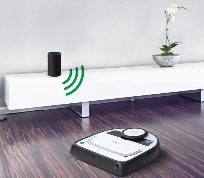 Der Kobold VR200 Saugroboter von Vorwerk lässt sich über Alexa-fähige Geräte, wie Amazon Echo und Amazon Echo Dot, steuern. © Vorwerk Kobold